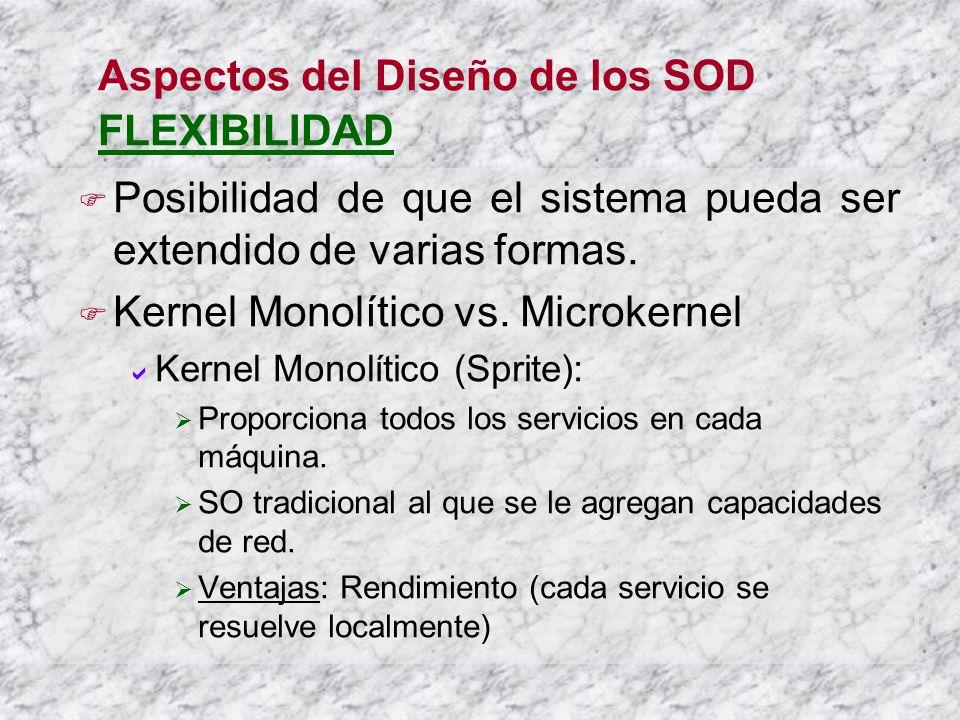 Aspectos del Diseño de los SOD FLEXIBILIDAD Posibilidad de que el sistema pueda ser extendido de varias formas. Kernel Monolítico vs. Microkernel Kern