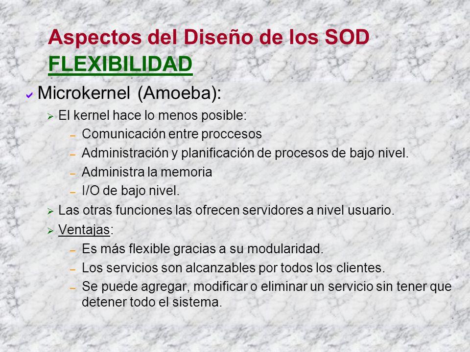 Aspectos del Diseño de los SOD FLEXIBILIDAD Microkernel (Amoeba): El kernel hace lo menos posible: – Comunicación entre proccesos – Administración y p
