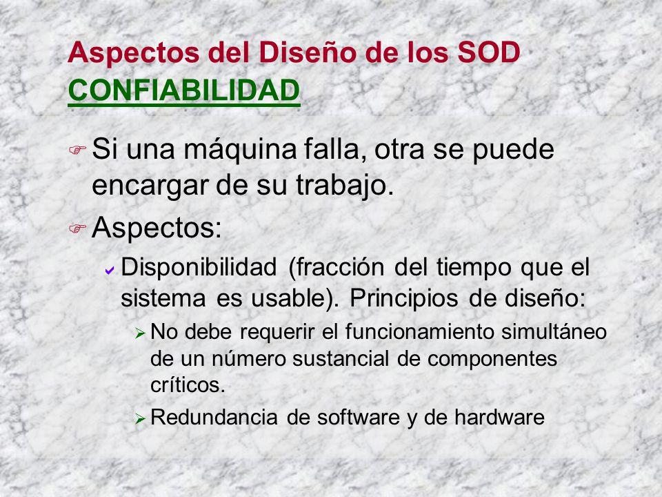 Aspectos del Diseño de los SOD CONFIABILIDAD Si una máquina falla, otra se puede encargar de su trabajo.