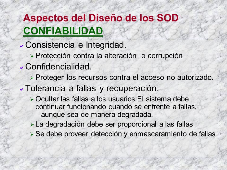 Aspectos del Diseño de los SOD CONFIABILIDAD Consistencia e Integridad. Protección contra la alteración o corrupción Confidencialidad. Proteger los re