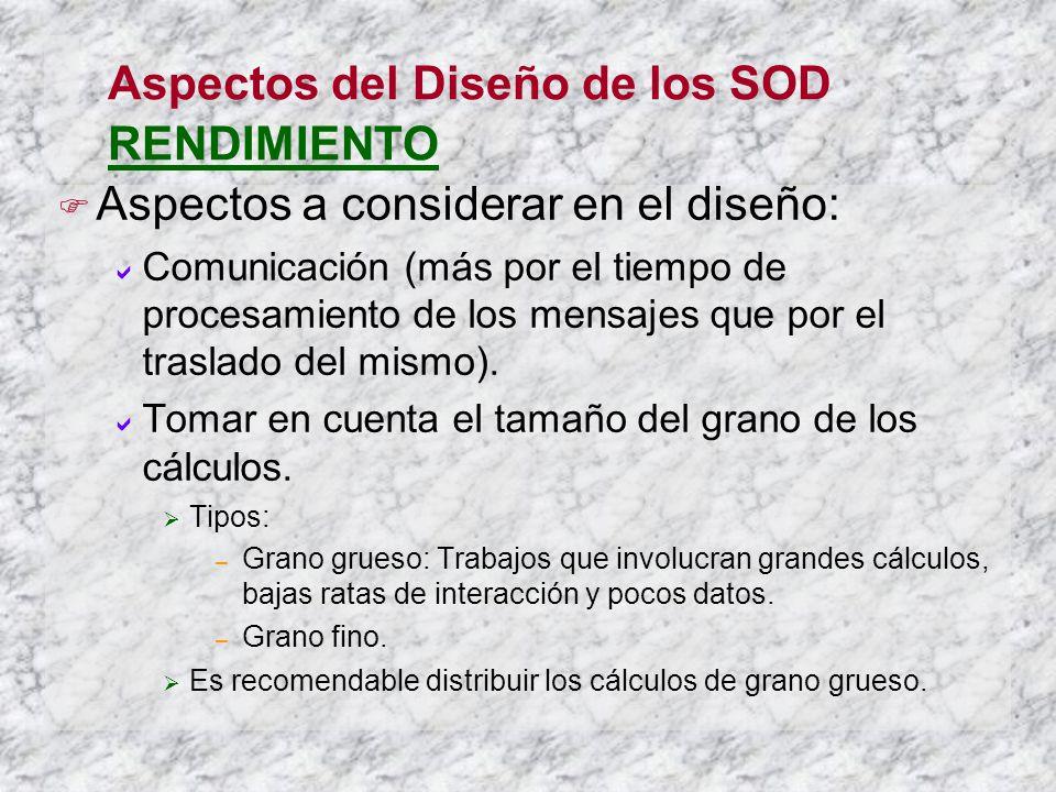 Aspectos del Diseño de los SOD RENDIMIENTO Aspectos a considerar en el diseño: Comunicación (más por el tiempo de procesamiento de los mensajes que por el traslado del mismo).