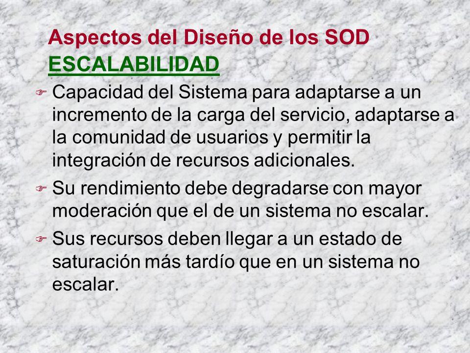 Aspectos del Diseño de los SOD ESCALABILIDAD Capacidad del Sistema para adaptarse a un incremento de la carga del servicio, adaptarse a la comunidad de usuarios y permitir la integración de recursos adicionales.