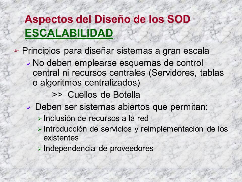 Aspectos del Diseño de los SOD ESCALABILIDAD Principios para diseñar sistemas a gran escala No deben emplearse esquemas de control central ni recursos
