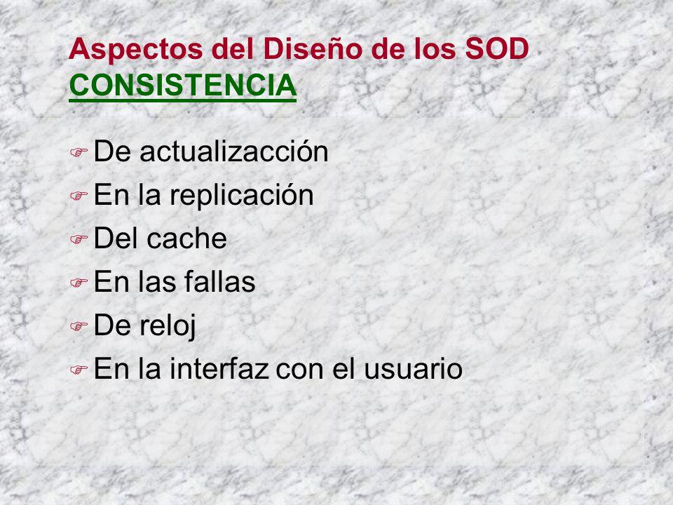 Aspectos del Diseño de los SOD CONSISTENCIA De actualizacción En la replicación Del cache En las fallas De reloj En la interfaz con el usuario