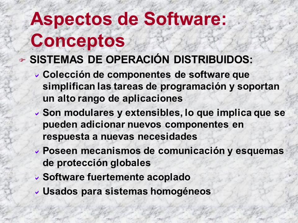 Aspectos de Software: Conceptos SISTEMAS DE OPERACIÓN DISTRIBUIDOS: Colección de componentes de software que simplifican las tareas de programación y
