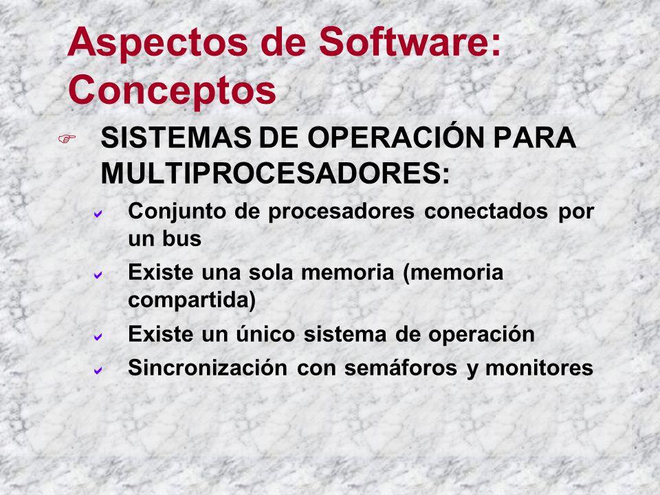 Aspectos de Software: Conceptos SISTEMAS DE OPERACIÓN PARA MULTIPROCESADORES: Conjunto de procesadores conectados por un bus Existe una sola memoria (memoria compartida) Existe un único sistema de operación Sincronización con semáforos y monitores