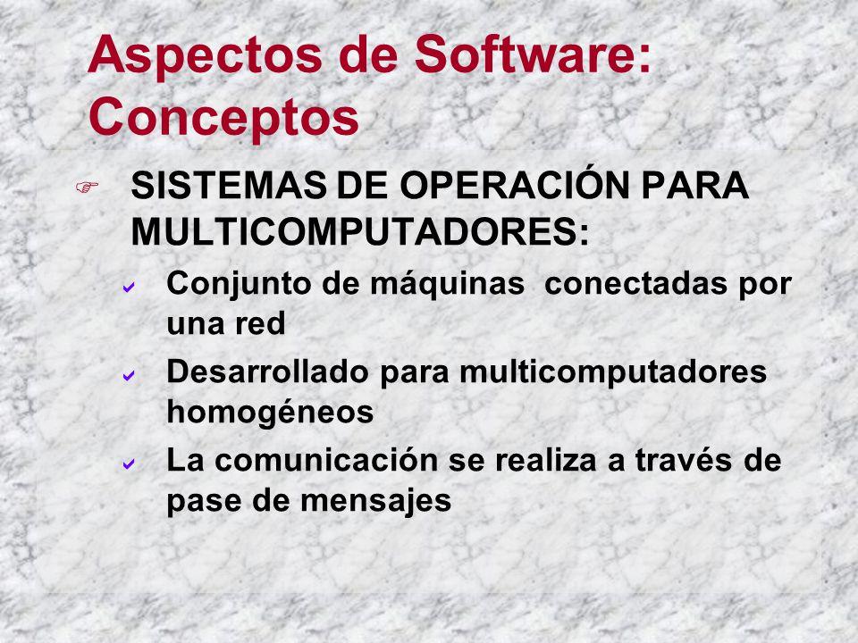Aspectos de Software: Conceptos SISTEMAS DE OPERACIÓN PARA MULTICOMPUTADORES: Conjunto de máquinas conectadas por una red Desarrollado para multicomputadores homogéneos La comunicación se realiza a través de pase de mensajes