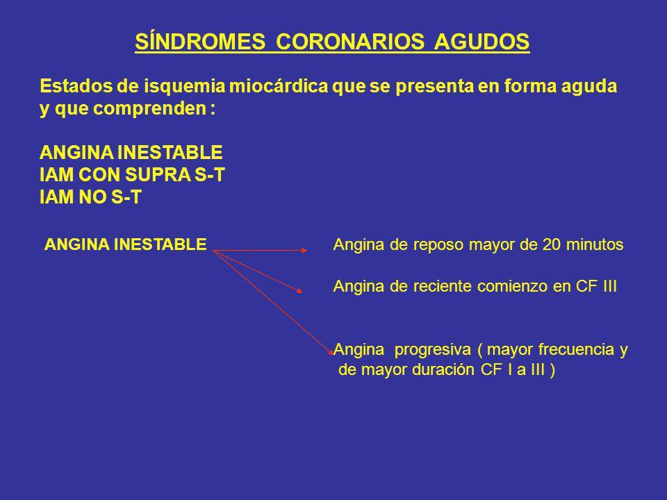 SÍNDROMES CORONARIOS AGUDOS Estados de isquemia miocárdica que se presenta en forma aguda y que comprenden : ANGINA INESTABLE IAM CON SUPRA S-T IAM NO