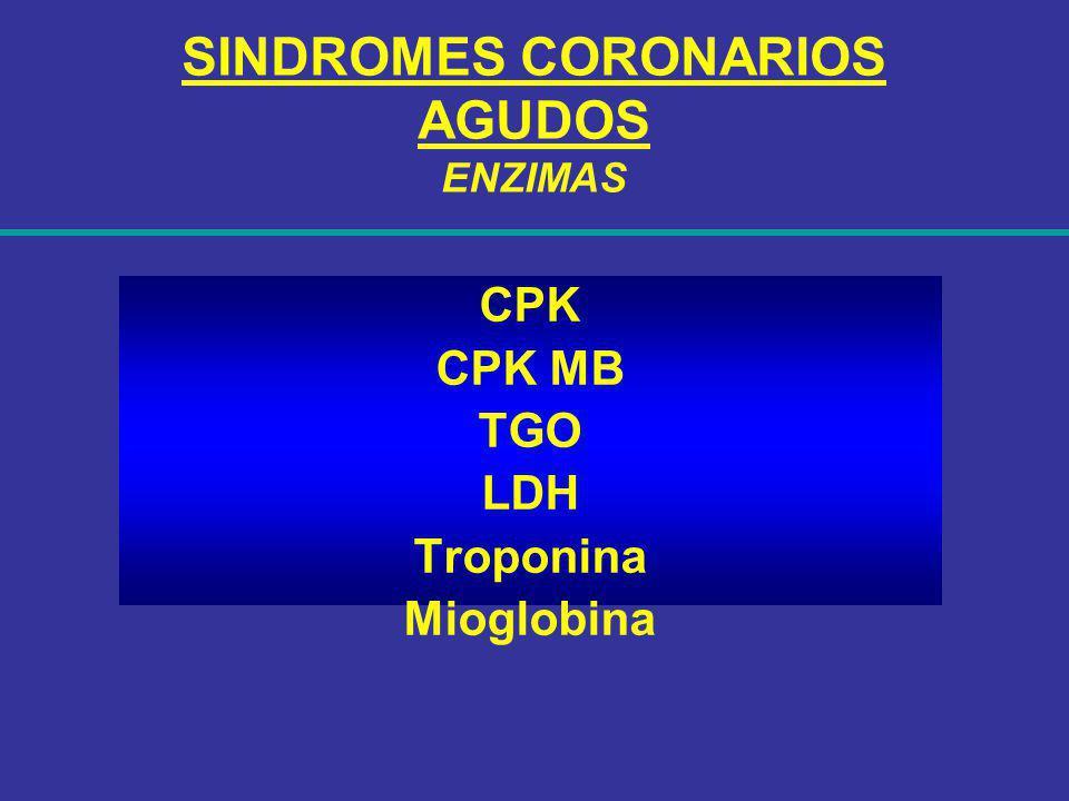 SINDROMES CORONARIOS AGUDOS ENZIMAS CPK CPK MB TGO LDH Troponina Mioglobina