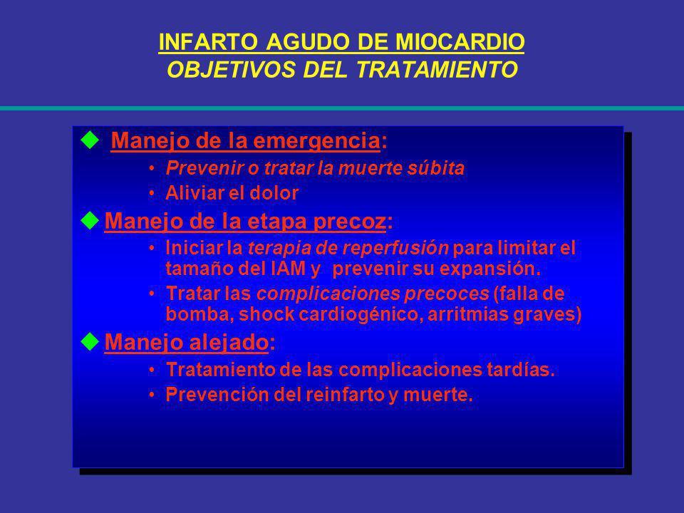 INFARTO AGUDO DE MIOCARDIO OBJETIVOS DEL TRATAMIENTO Manejo de la emergencia: Prevenir o tratar la muerte súbita Aliviar el dolor Manejo de la etapa p