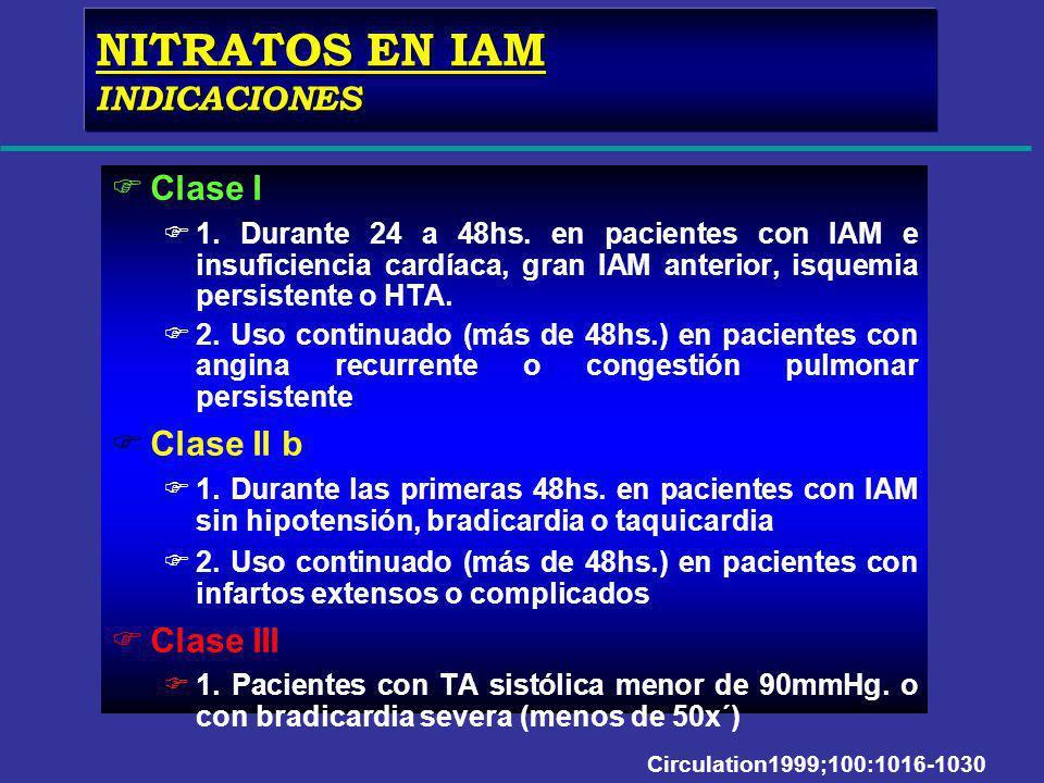 FClase I F1. Durante 24 a 48hs. en pacientes con IAM e insuficiencia cardíaca, gran IAM anterior, isquemia persistente o HTA. F2. Uso continuado (más
