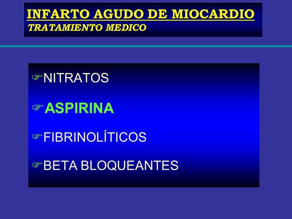 FNITRATOS FASPIRINA FFIBRINOLÍTICOS FBETA BLOQUEANTES INFARTO AGUDO DE MIOCARDIO TRATAMIENTO MEDICO