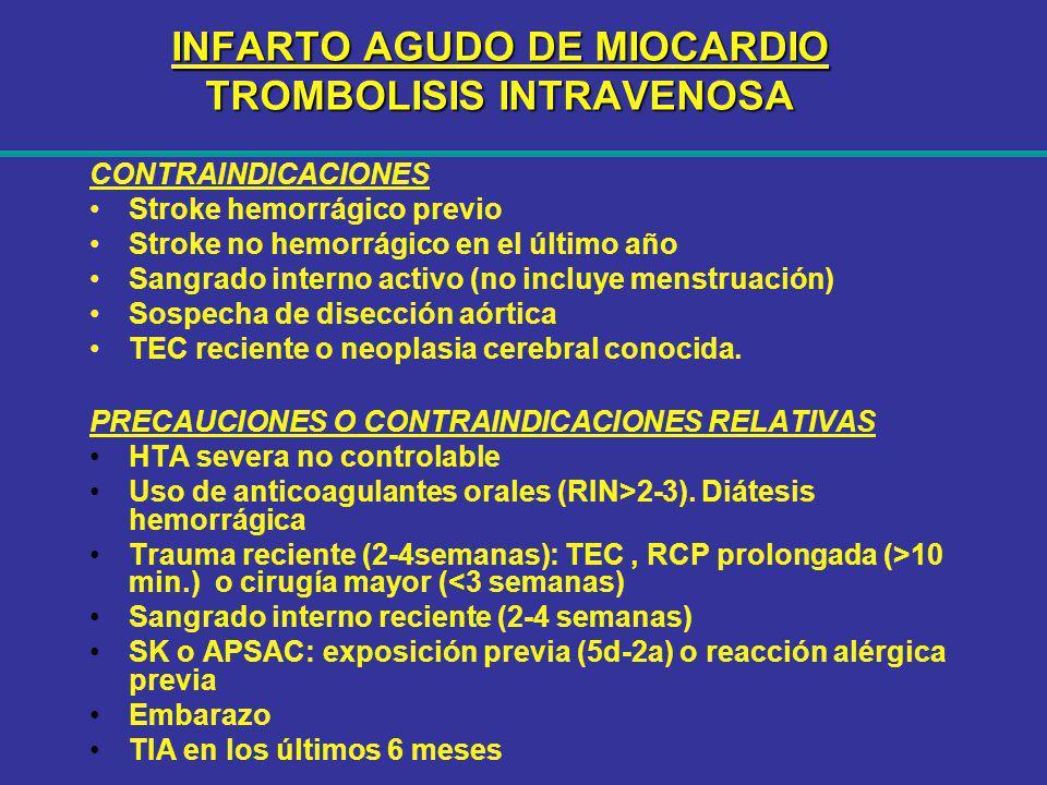INFARTO AGUDO DE MIOCARDIO TROMBOLISIS INTRAVENOSA CONTRAINDICACIONES Stroke hemorrágico previo Stroke no hemorrágico en el último año Sangrado intern