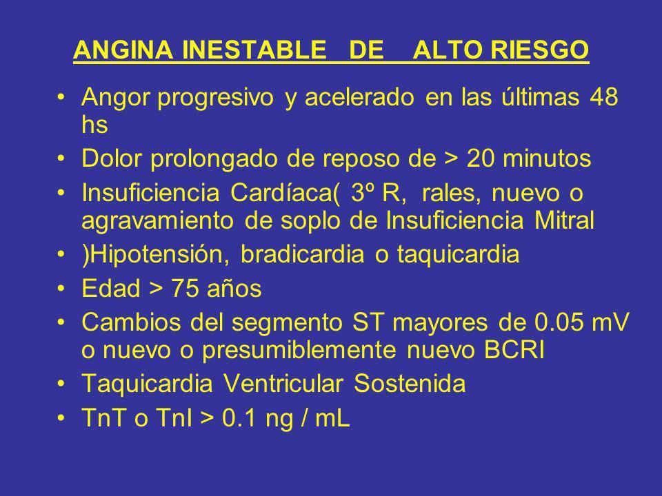 ANGINA INESTABLE DE ALTO RIESGO Angor progresivo y acelerado en las últimas 48 hs Dolor prolongado de reposo de > 20 minutos Insuficiencia Cardíaca( 3
