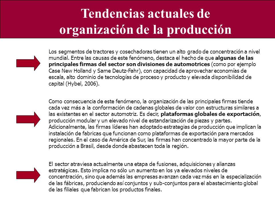 Características generales del sector a nivel local Tendencias actuales de organización de la producción Los segmentos de tractores y cosechadoras tien