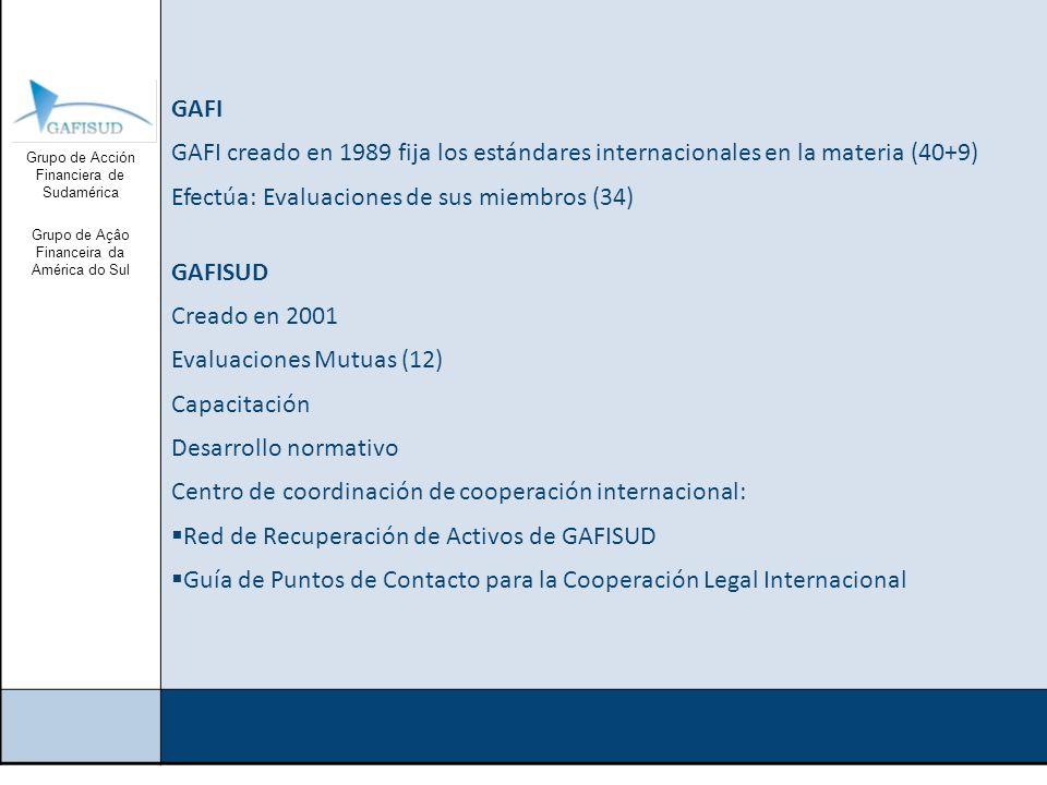 Grupo de Acción Financiera de Sudamérica Grupo de Açâo Financeira da América do Sul GRUPOS DE TRABAJO DE GAFISUD Grupo de Trabajo de Capacitación y Desarrollo Grupo de Trabajo de Evaluaciones Mutuas Grupo de Trabajo de Apoyo Operativo
