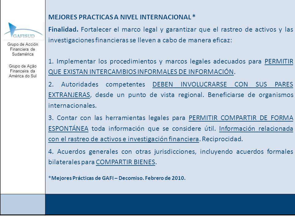 Grupo de Acción Financiera de Sudamérica Grupo de Açâo Financeira da América do Sul MEJORES PRACTICAS A NIVEL INTERNACIONAL * Finalidad.