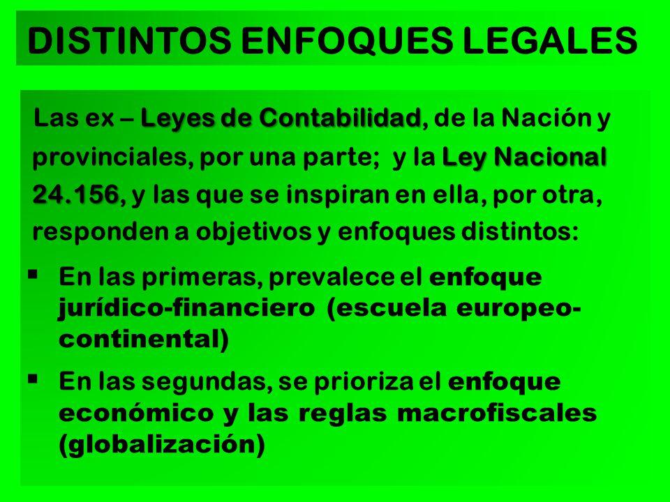 Leyes de Contabilidad Ley Nacional 24.156 Las ex – Leyes de Contabilidad, de la Nación y provinciales, por una parte; y la Ley Nacional 24.156, y las que se inspiran en ella, por otra, responden a objetivos y enfoques distintos: En las primeras, prevalece el enfoque jurídico-financiero (escuela europeo- continental) En las segundas, se prioriza el enfoque económico y las reglas macrofiscales (globalización) DISTINTOS ENFOQUES LEGALES