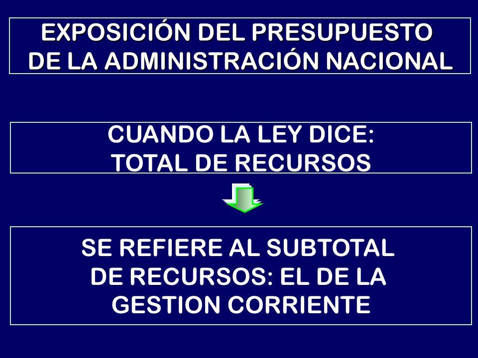 CUANDO LA LEY DICE: TOTAL DE RECURSOS SE REFIERE AL SUBTOTAL DE RECURSOS: EL DE LA GESTION CORRIENTE EXPOSICIÓN DEL PRESUPUESTO DE LA ADMINISTRACIÓN NACIONAL