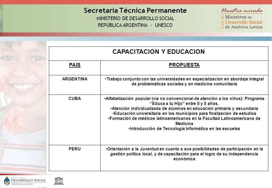 Secretaría Técnica Permanente MINISTERIO DE DESARROLLO SOCIAL REPÚBLICA ARGENTINA - UNESCO CAPACITACION Y EDUCACION PAISPROPUESTA ARGENTINATrabajo con
