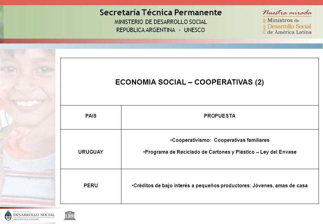 Secretaría Técnica Permanente MINISTERIO DE DESARROLLO SOCIAL REPÚBLICA ARGENTINA - UNESCO ECONOMIA SOCIAL – COOPERATIVAS (2) PAISPROPUESTA URUGUAY Cooperativismo: Cooperativas familiares Programa de Reciclado de Cartones y Plástico – Ley del Envase PERUCréditos de bajo interés a pequeños productores: Jóvenes, amas de casa