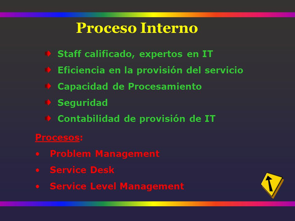 Staff calificado, expertos en IT Eficiencia en la provisión del servicio Capacidad de Procesamiento Seguridad Contabilidad de provisión de IT Procesos: Problem Management Service Desk Service Level Management Proceso Interno