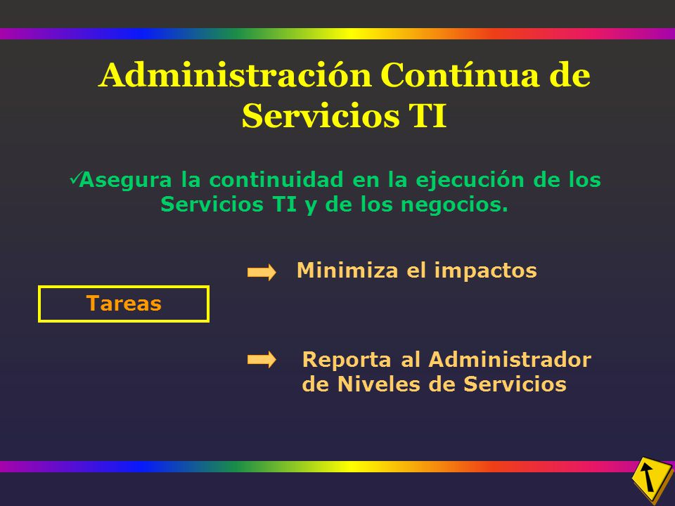 Administración Contínua de Servicios TI Asegura la continuidad en la ejecución de los Servicios TI y de los negocios.