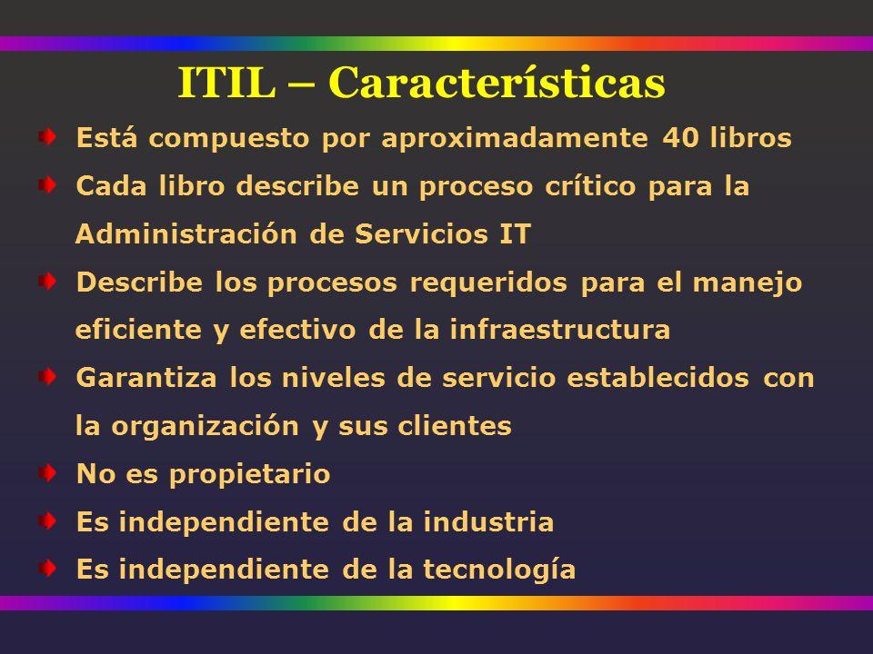 Está compuesto por aproximadamente 40 libros Cada libro describe un proceso crítico para la Administración de Servicios IT Describe los procesos requeridos para el manejo eficiente y efectivo de la infraestructura Garantiza los niveles de servicio establecidos con la organización y sus clientes No es propietario Es independiente de la industria Es independiente de la tecnología ITIL – Características