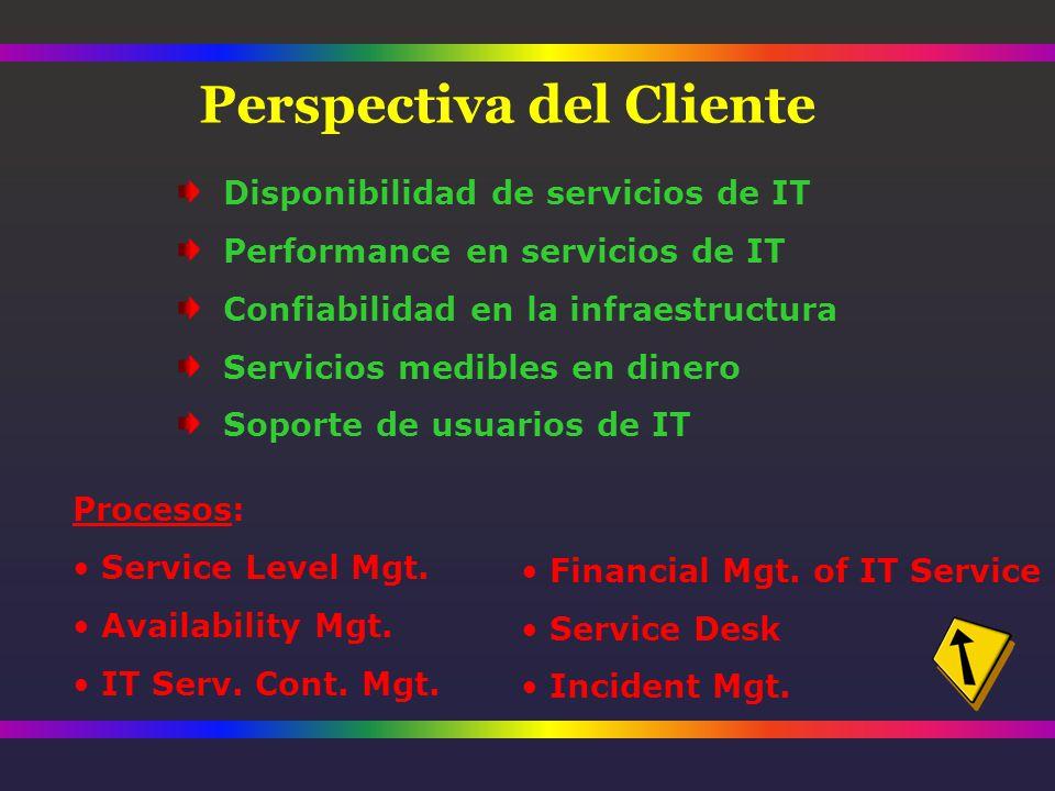 Disponibilidad de servicios de IT Performance en servicios de IT Confiabilidad en la infraestructura Servicios medibles en dinero Soporte de usuarios de IT Procesos: Service Level Mgt.