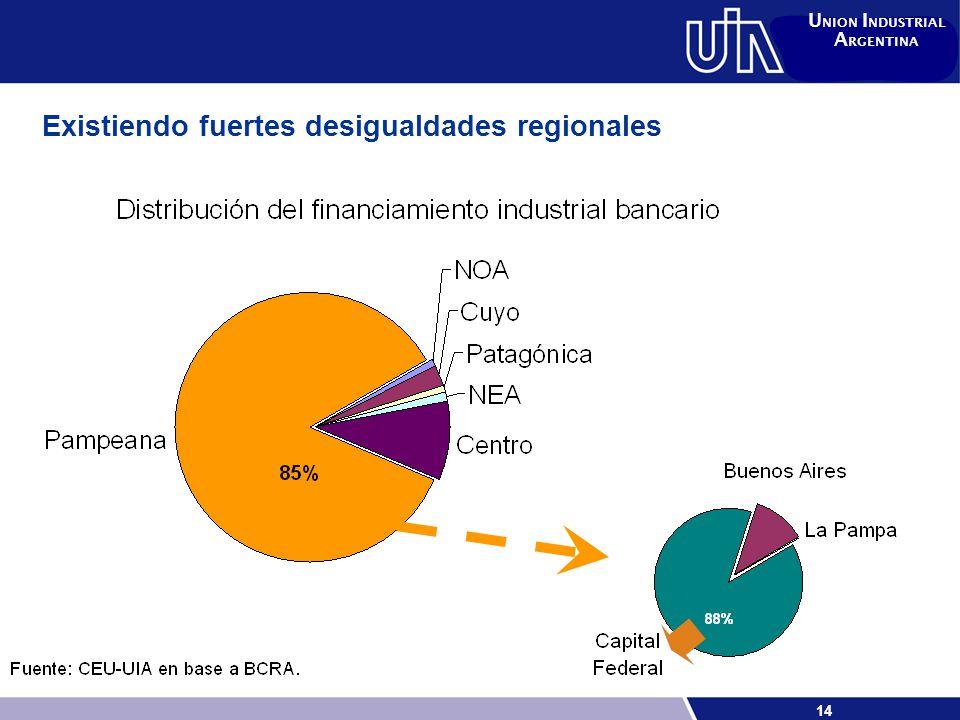14 U NION I NDUSTRIAL A RGENTINA Existiendo fuertes desigualdades regionales
