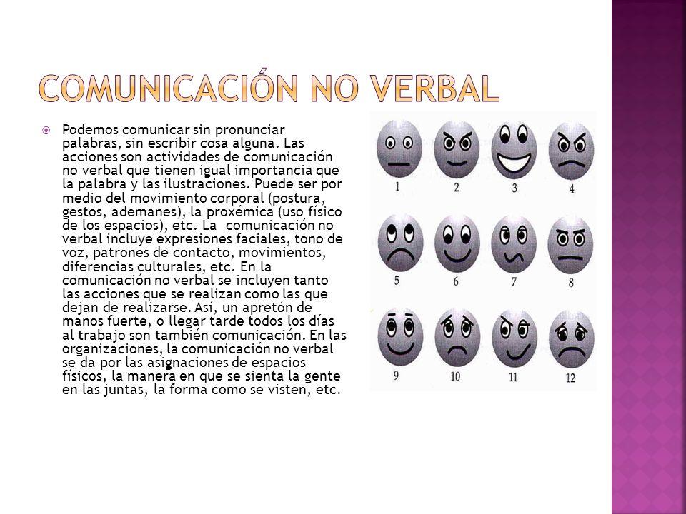 Podemos comunicar sin pronunciar palabras, sin escribir cosa alguna. Las acciones son actividades de comunicación no verbal que tienen igual importanc