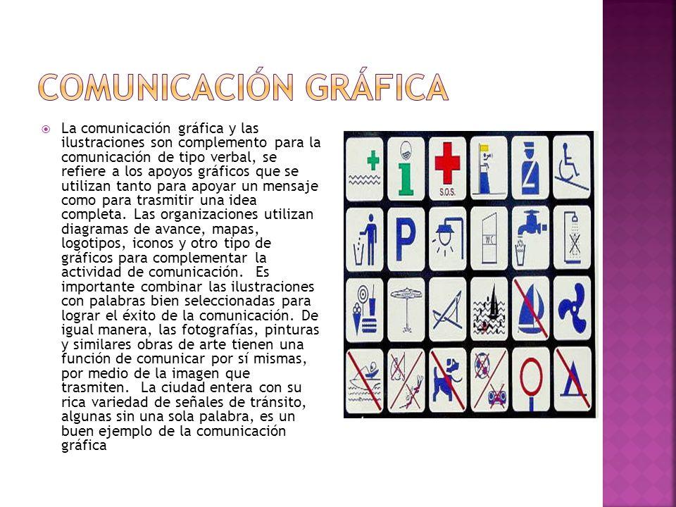La comunicación gráfica y las ilustraciones son complemento para la comunicación de tipo verbal, se refiere a los apoyos gráficos que se utilizan tant