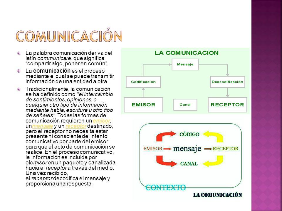 La palabra comunicación deriva del latín communicare, que significa compartir algo, poner en común. La comunicación es el proceso mediante el cual se