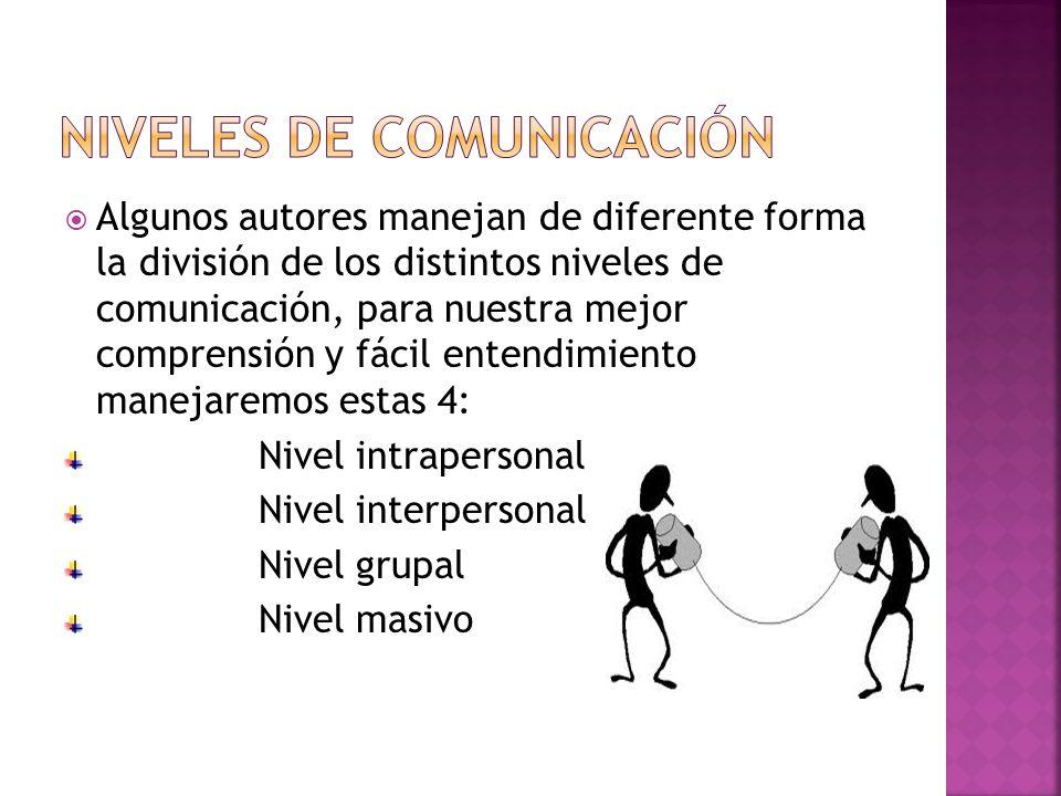 Algunos autores manejan de diferente forma la división de los distintos niveles de comunicación, para nuestra mejor comprensión y fácil entendimiento