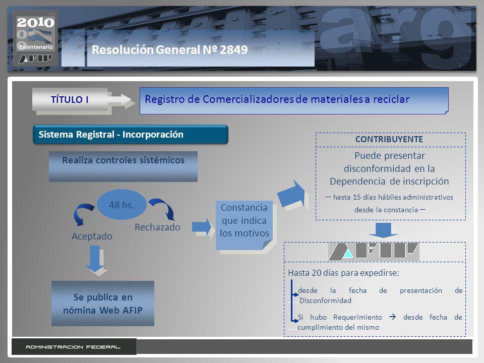 10 Resolución General Nº 2849 TÍTULO I Registro de Comercializadores de materiales a reciclar Sistema Registral - Incorporación Realiza controles sistémicos Se publica en nómina Web AFIP 48 hs.