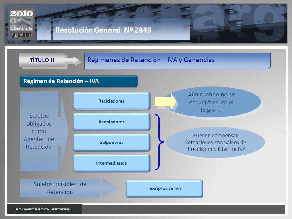 13 Resolución General Nº 2849 TÍTULO II Regímenes de Retención – IVA y Ganancias Régimen de Retención – IVA Acopiadores Galponeros Intermediarios Suje