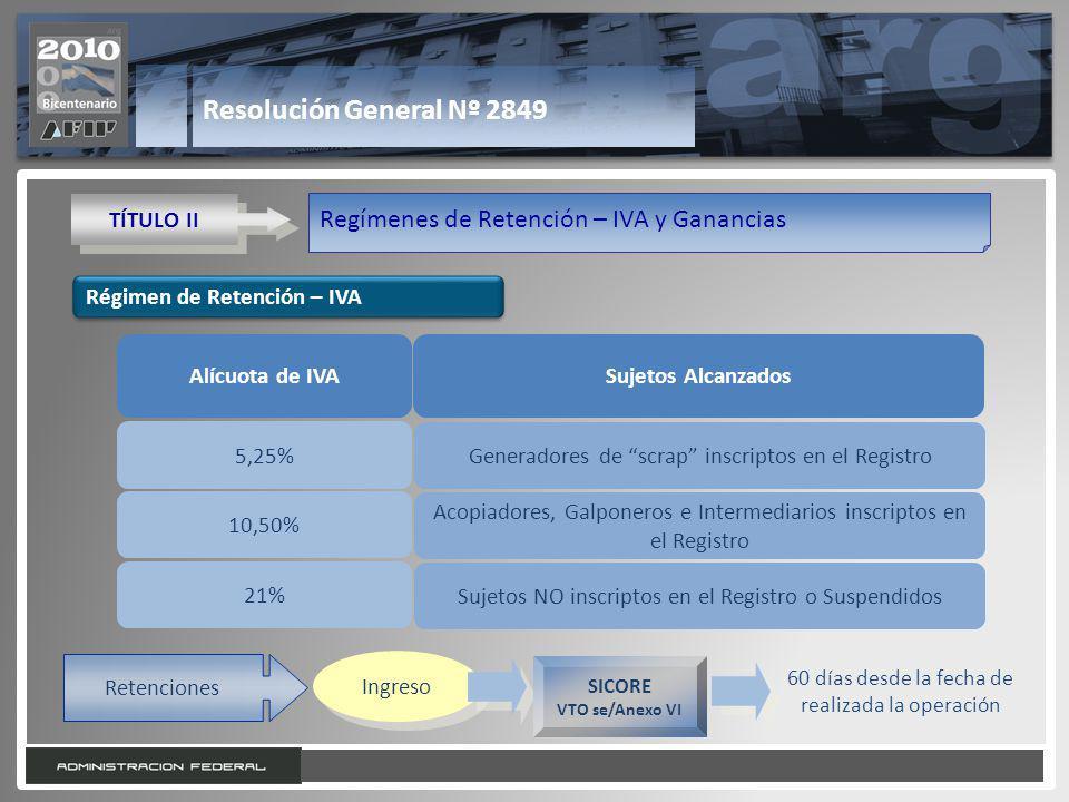 14 Resolución General Nº 2849 TÍTULO II Regímenes de Retención – IVA y Ganancias Régimen de Retención – IVA Alícuota de IVASujetos Alcanzados 5,25% 10,50% 21% Generadores de scrap inscriptos en el Registro Acopiadores, Galponeros e Intermediarios inscriptos en el Registro Sujetos NO inscriptos en el Registro o Suspendidos Retenciones Ingreso SICORE VTO se/Anexo VI 60 días desde la fecha de realizada la operación