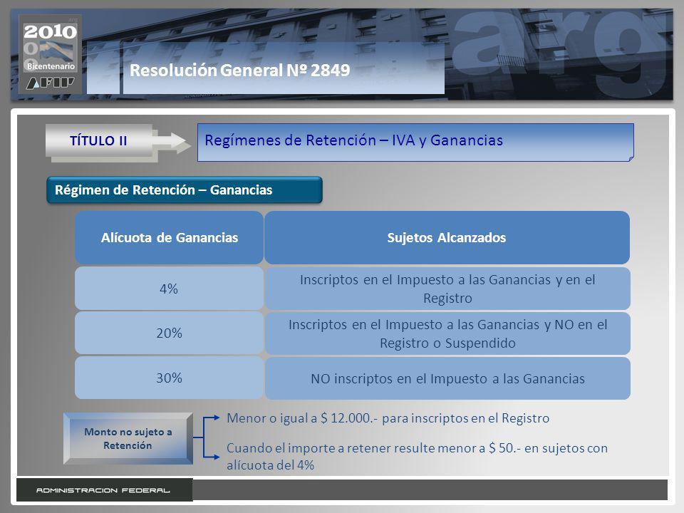 16 Resolución General Nº 2849 TÍTULO II Regímenes de Retención – IVA y Ganancias Alícuota de GananciasSujetos Alcanzados 4% 20% 30% Inscriptos en el I