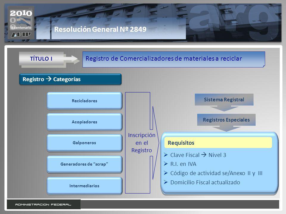 9 Resolución General Nº 2849 TÍTULO I Registro de Comercializadores de materiales a reciclar Registro Categorías Acopiadores Galponeros Generadores de scrap Intermediarios Recicladores Inscripción en el Registro Clave Fiscal Nivel 3 R.I.