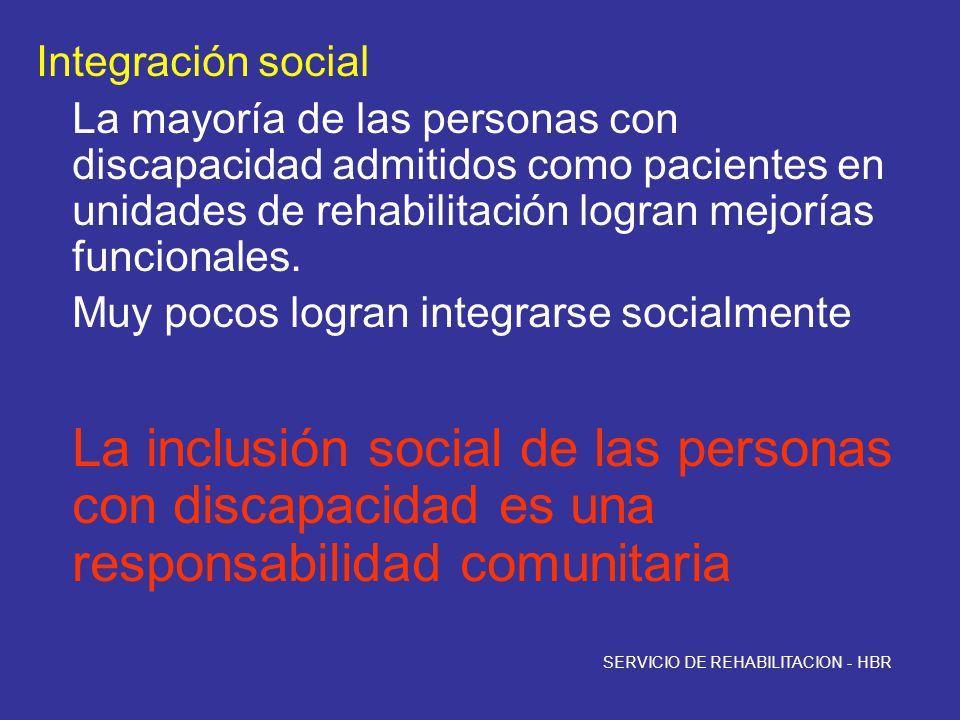 Integración social La mayoría de las personas con discapacidad admitidos como pacientes en unidades de rehabilitación logran mejorías funcionales. Muy