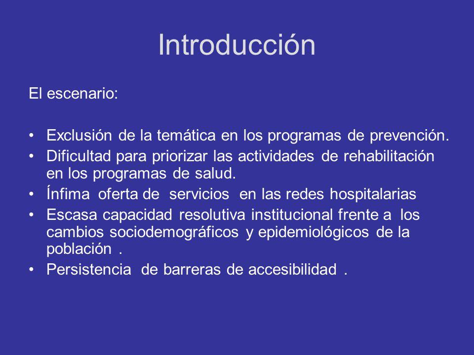 Introducción El escenario: Exclusión de la temática en los programas de prevención. Dificultad para priorizar las actividades de rehabilitación en los