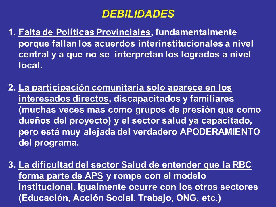 DEBILIDADES 1.Falta de Políticas Provinciales, fundamentalmente porque fallan los acuerdos interinstitucionales a nivel central y a que no se interpre