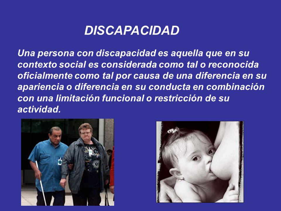 Una persona con discapacidad es aquella que en su contexto social es considerada como tal o reconocida oficialmente como tal por causa de una diferenc