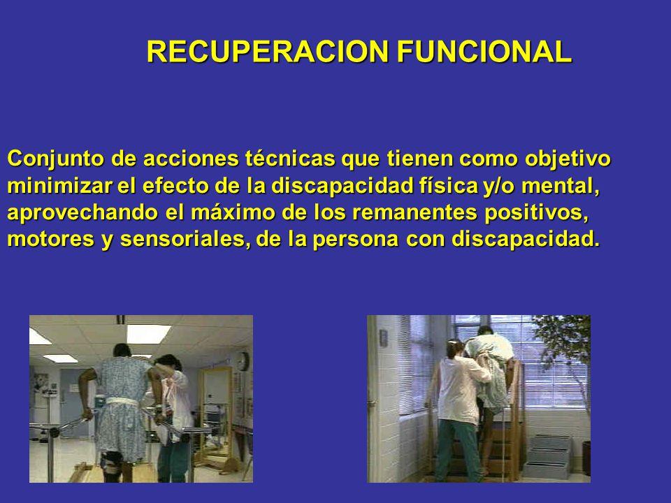 RECUPERACION FUNCIONAL Conjunto de acciones técnicas que tienen como objetivo minimizar el efecto de la discapacidad física y/o mental, aprovechando e