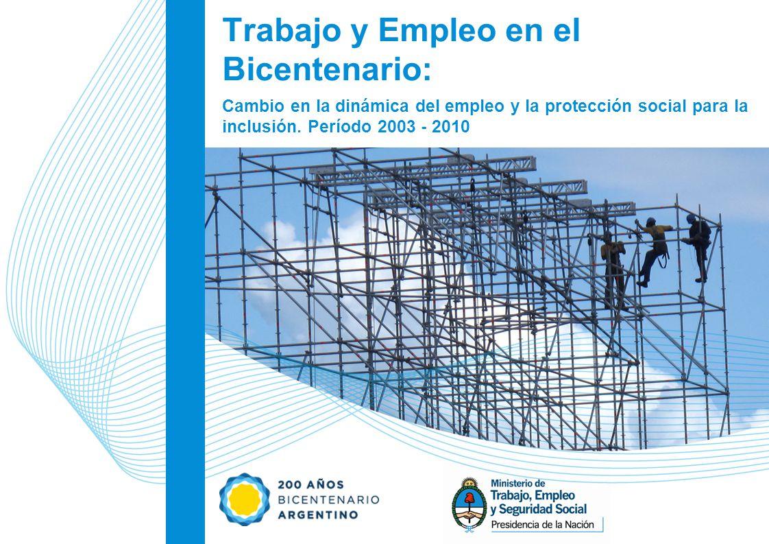 Cambio en la dinámica del empleo y la protección social para la inclusión. Período 2003 - 2010 Trabajo y Empleo en el Bicentenario: