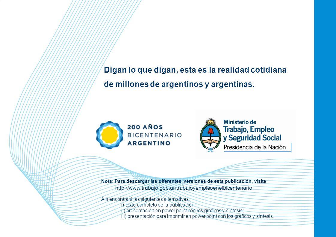 62 Digan lo que digan, esta es la realidad cotidiana de millones de argentinos y argentinas. Nota: Para descargar las diferentes versiones de esta pub