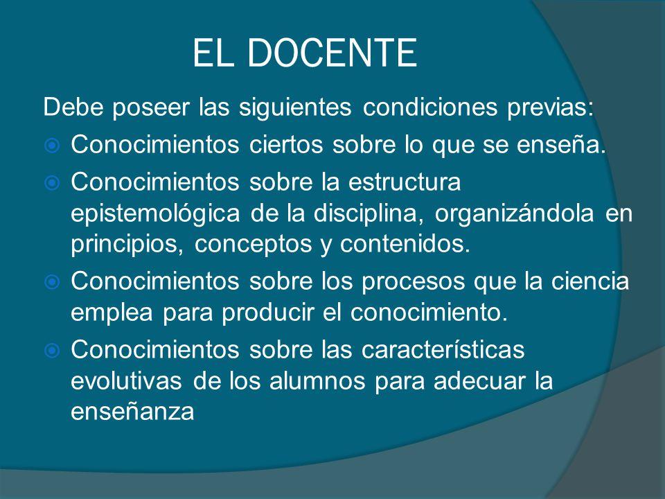 EL DOCENTE Debe poseer las siguientes condiciones previas: Conocimientos ciertos sobre lo que se enseña. Conocimientos sobre la estructura epistemológ