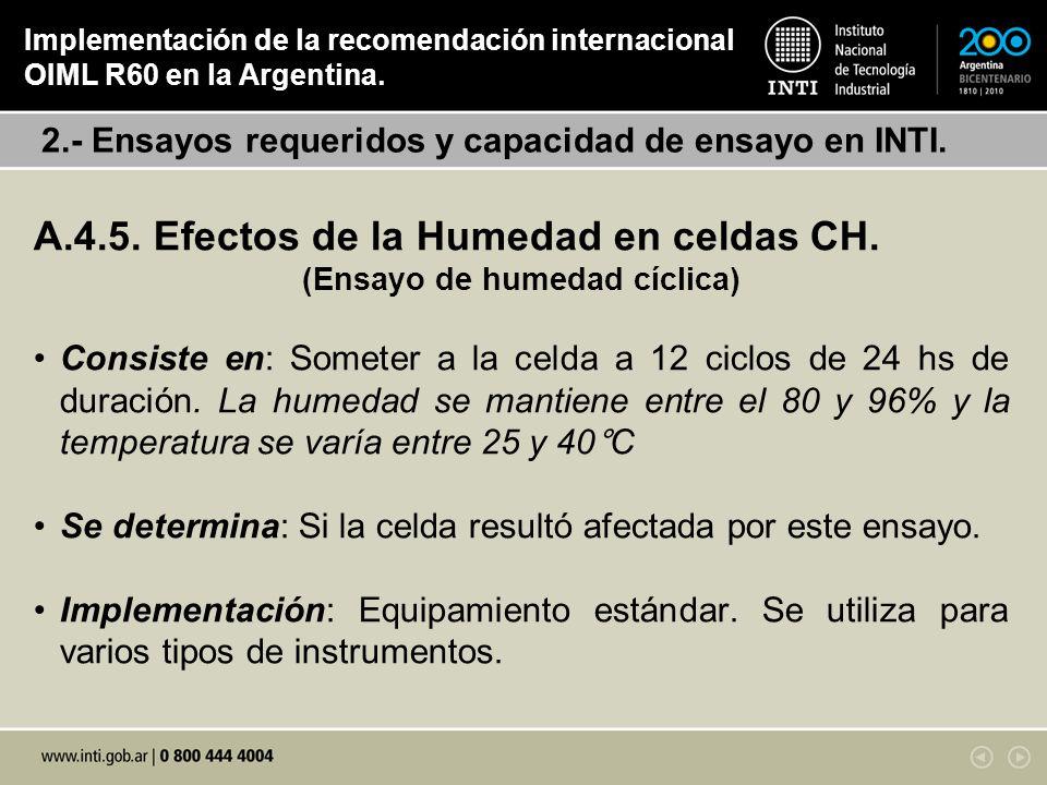 A.4.5. Efectos de la Humedad en celdas CH. (Ensayo de humedad cíclica) Consiste en: Someter a la celda a 12 ciclos de 24 hs de duración. La humedad se