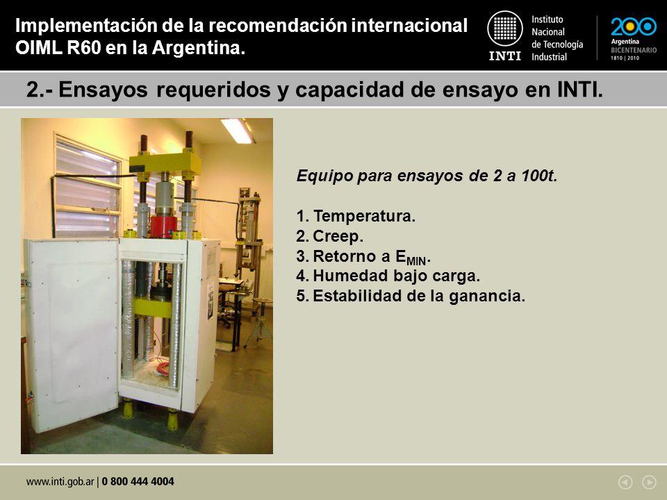 2.- Ensayos requeridos y capacidad de ensayo en INTI. Implementación de la recomendación internacional OIML R60 en la Argentina. Equipo para ensayos d