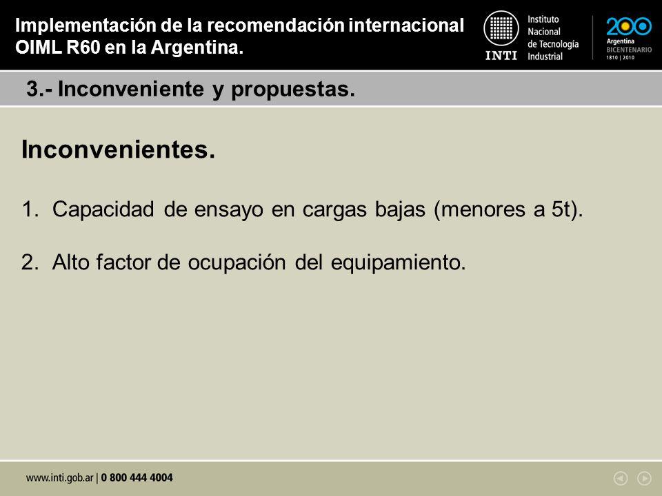 Inconvenientes. 1. Capacidad de ensayo en cargas bajas (menores a 5t). 2. Alto factor de ocupación del equipamiento. 3.- Inconveniente y propuestas. I